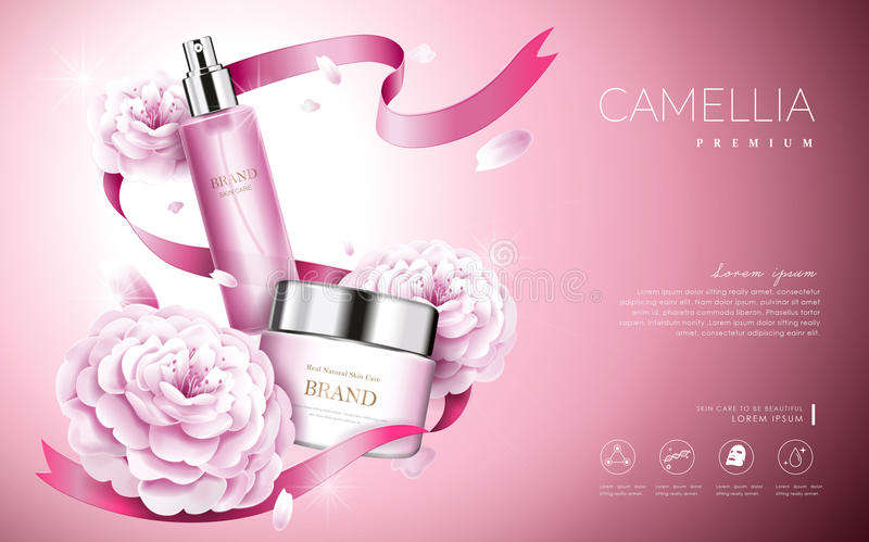 Camellia cosmetic ads royalty free illustration