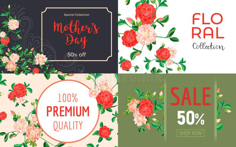Camellia flower banner set, cartoon style vector illustration