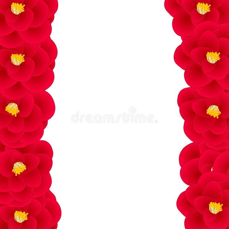 Camellia Flower Border vermelha isolada no fundo branco Ilustração do vetor ilustração do vetor