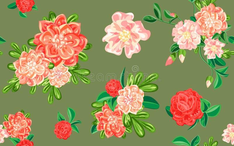 Camellia flower pattern, cartoon style royalty free illustration