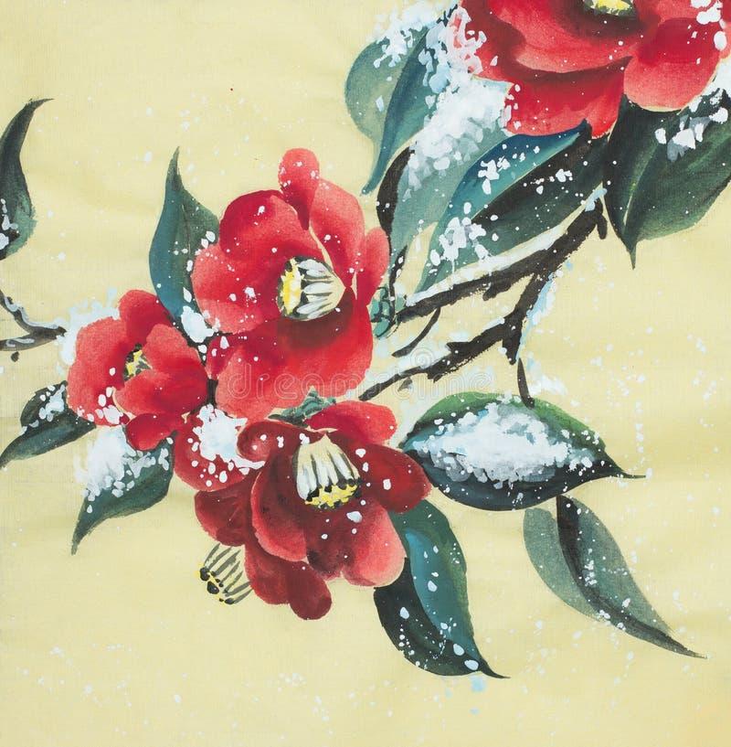 Camellia flower under the snow stock illustration
