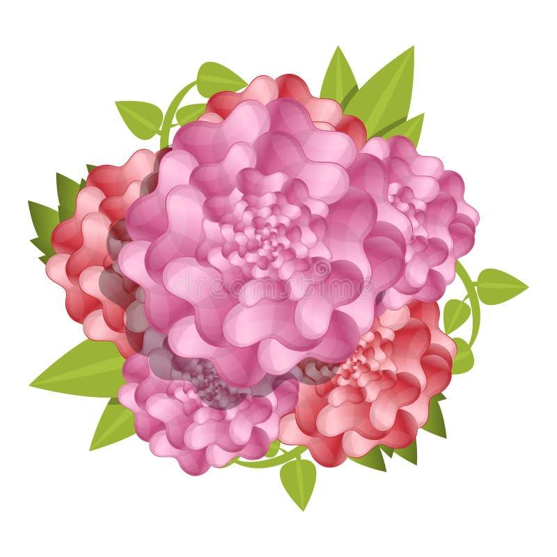 Camellia fresh flower concept background, cartoon style stock illustration