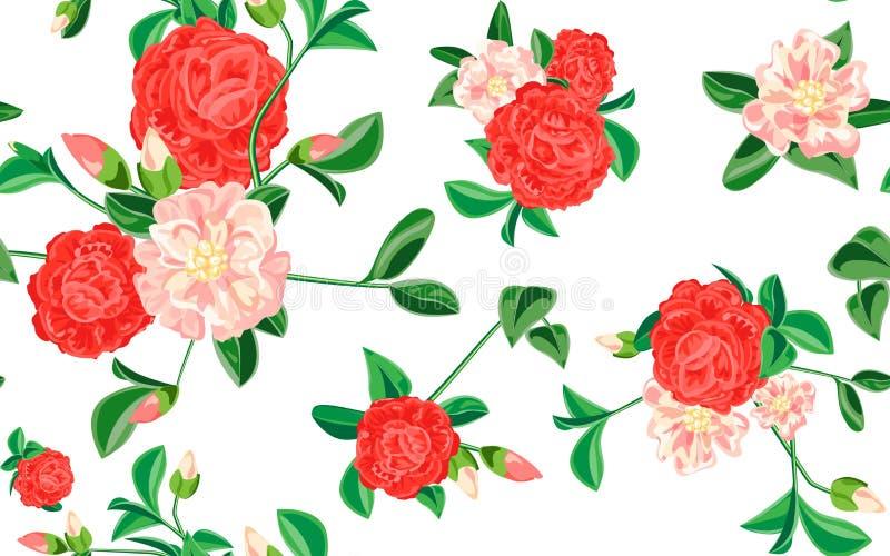 Camellia pattern, cartoon style vector illustration