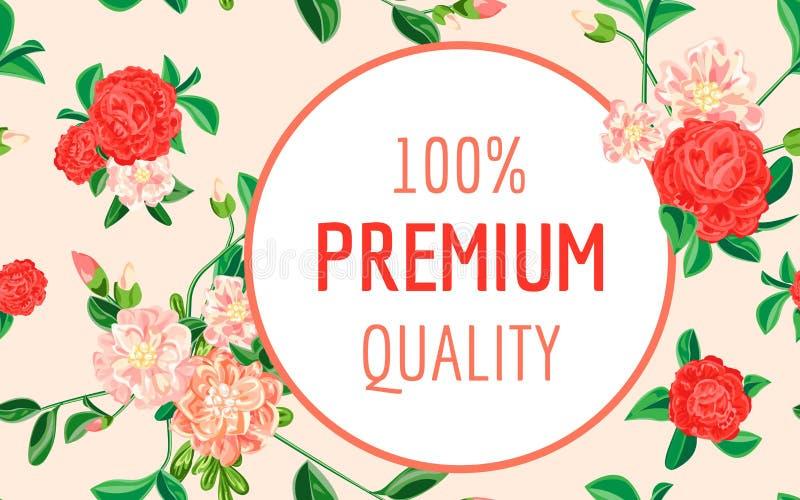Camellia premium quality concept banner, cartoon style stock illustration