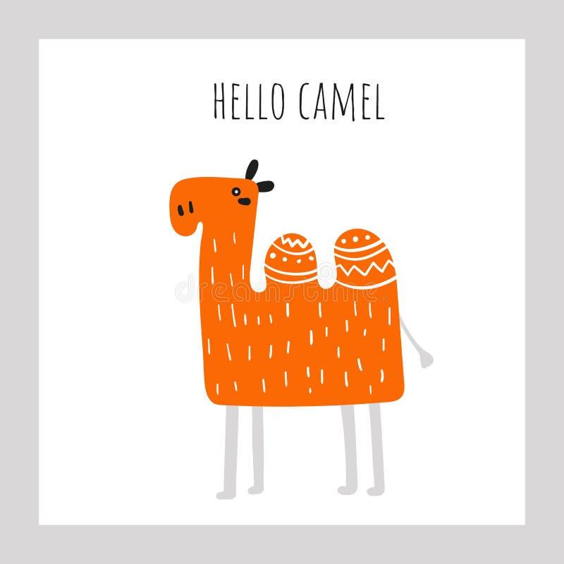 Camello anaranjado del garabato exhausto lindo de la mano con poner letras a cita hola ilustración del vector