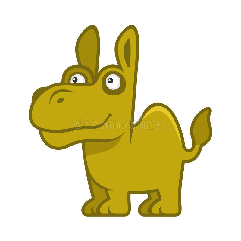 Camello Animal divertido del estilo de la historieta en el fondo blanco Vector ilustración del vector