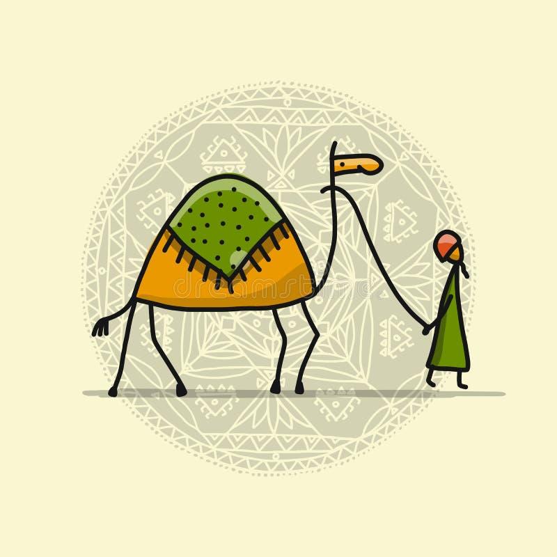 Camello, bosquejo para su diseño stock de ilustración