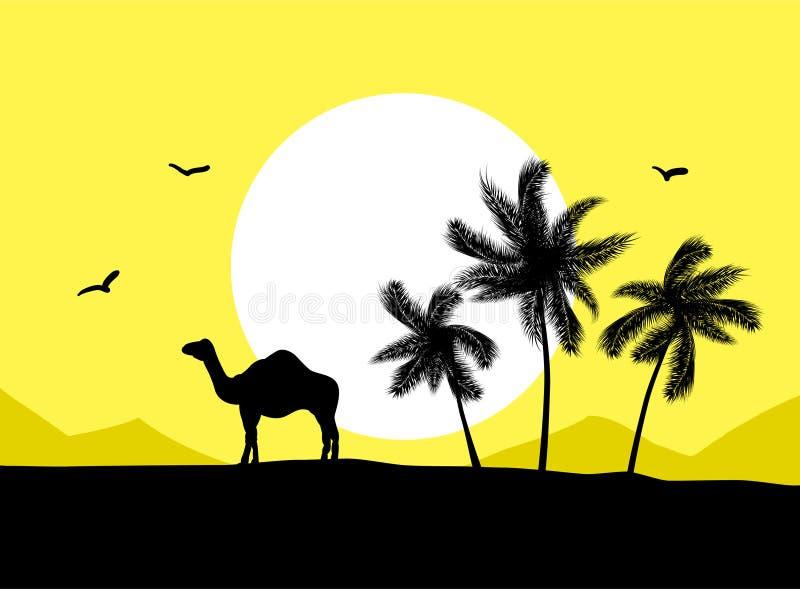 Camello en desierto stock de ilustración