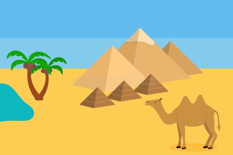 Camello en desierto del Sáhara con las pirámides y la palma stock de ilustración