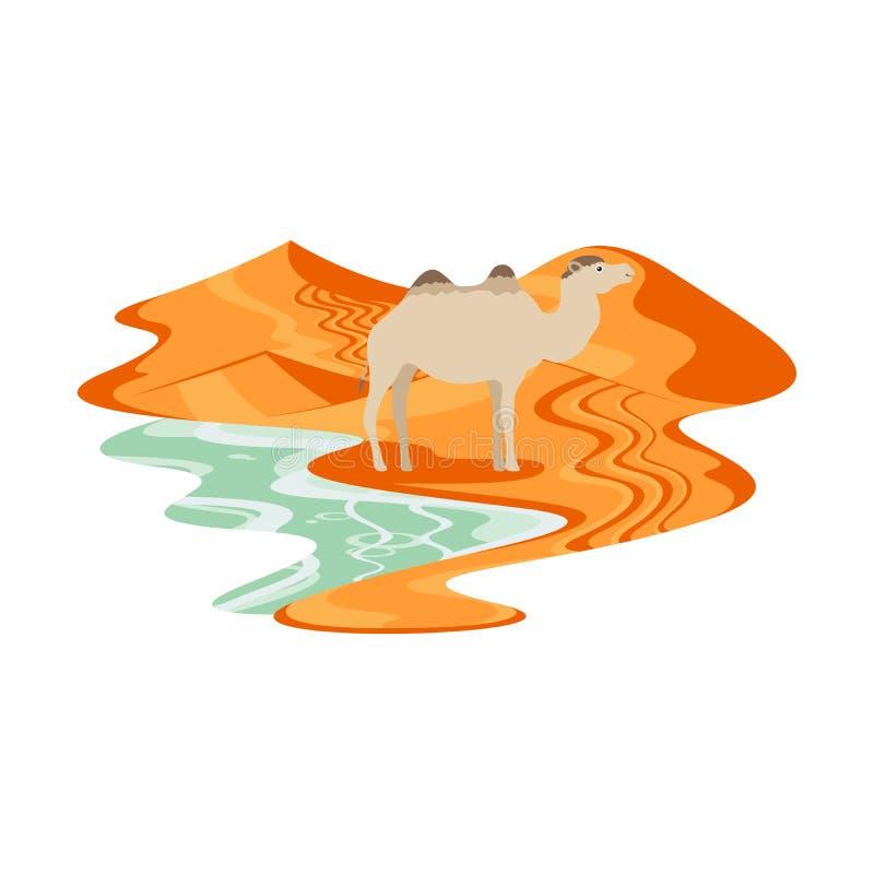 Camello en paisaje de la duna de arena del desierto stock de ilustración