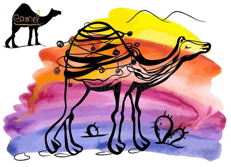 Camelo em um fundo da aquarela ilustração do vetor