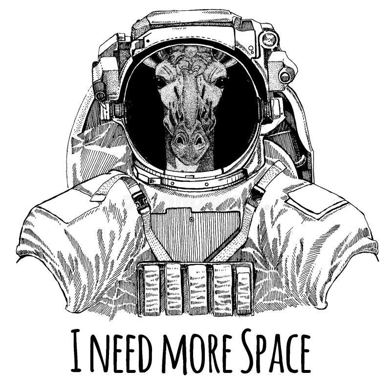 Camelopard, żyrafa astronauta Astronautyczny kostium Wręcza patroszonego wizerunek lew dla tatuażu, koszulka, emblemat, odznaka,  ilustracja wektor