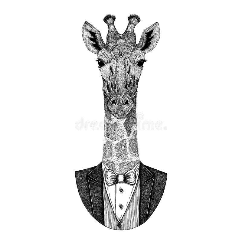 Camelopard, żyrafa modnisia zwierzęca ręka rysujący wizerunek dla tatuażu, emblemat, odznaka, logo, łata ilustracja wektor