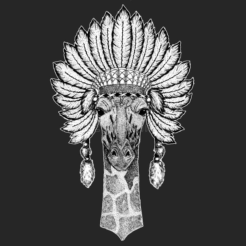 Camelopard, żyrafy boho pióropuszu Tradycyjnego etnicznego indyjskiego Plemiennego szamanu kapeluszowy Ceremonialny element ilustracji