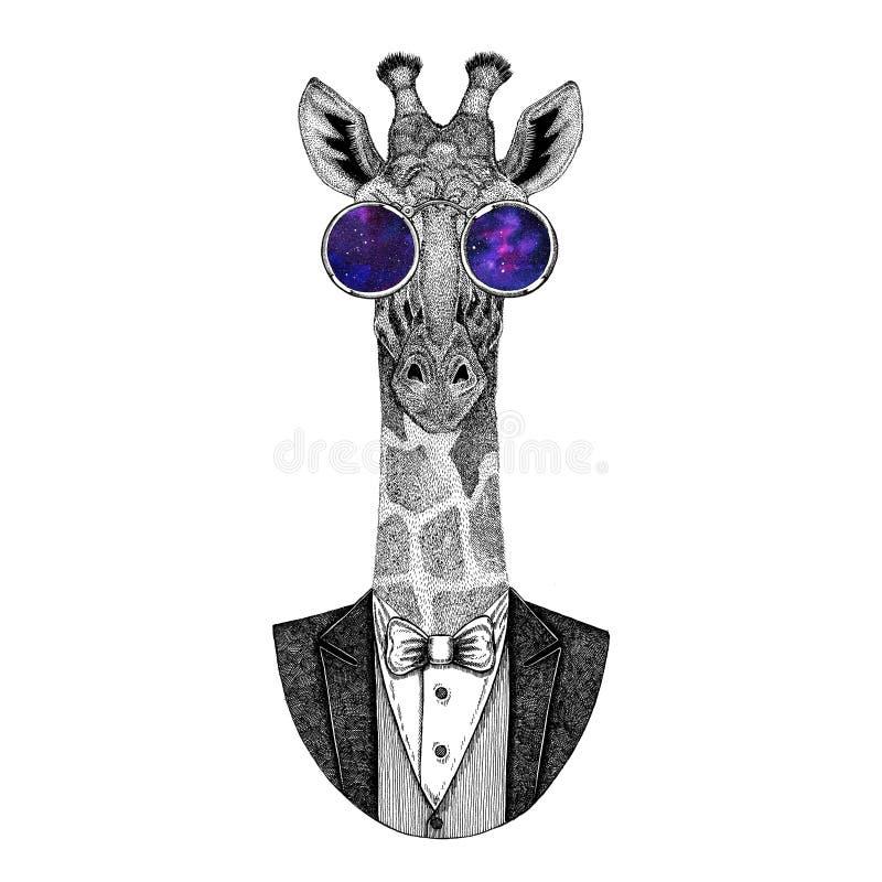Camelopard, gezeichnetes Bild Giraffe Hippies Tierhand für Tätowierung, Emblem, Ausweis, Logo, Flecken lizenzfreie abbildung