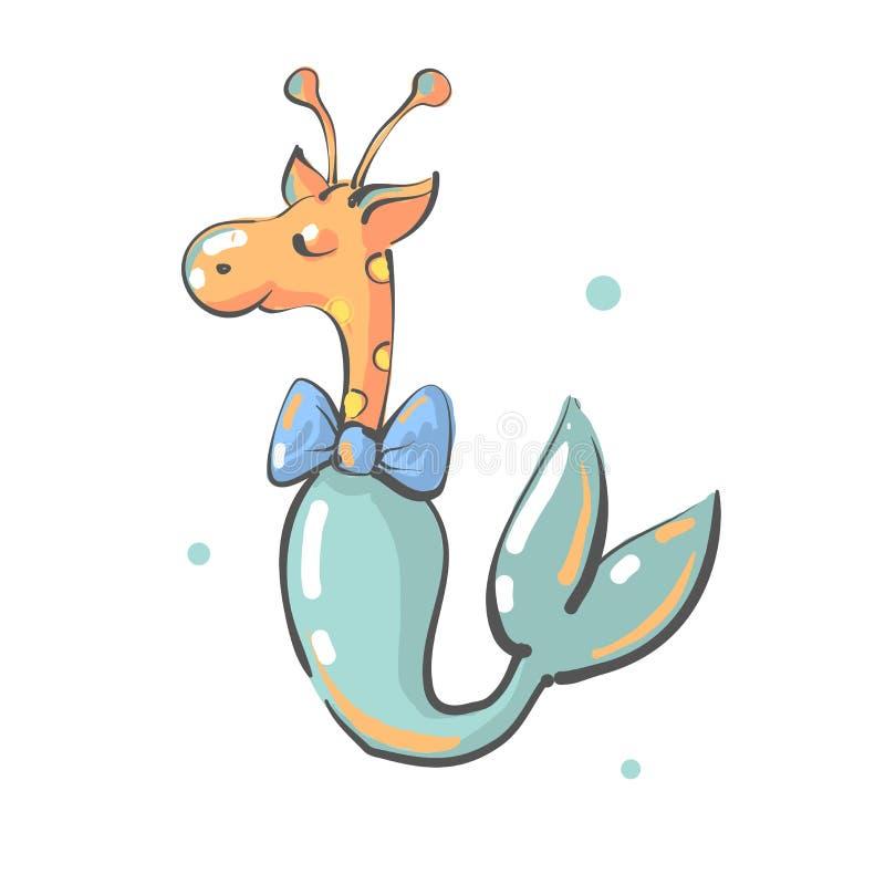 Camelopard z łęku i syrenki ogonu pepiniery rybim drukiem, żyrafy fantazji zwierzę ilustracji
