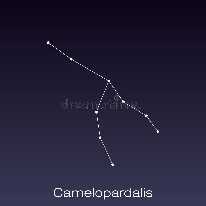 Constellation as it can be seen by the naked eye. Camelopardalis constellation as it can be seen by the naked eye vector illustration