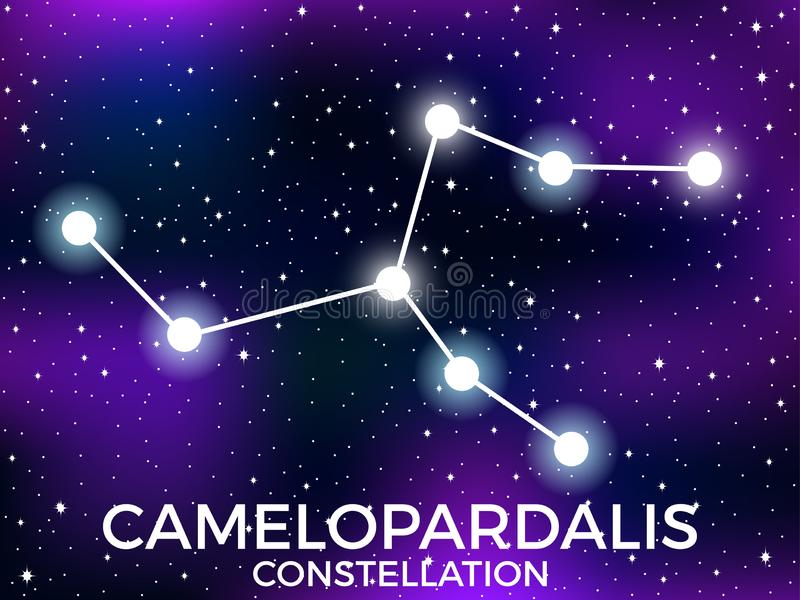 Camelopardalis constellation. Starry night sky. Cluster of stars and galaxies. Deep space. Vector. Illustration vector illustration