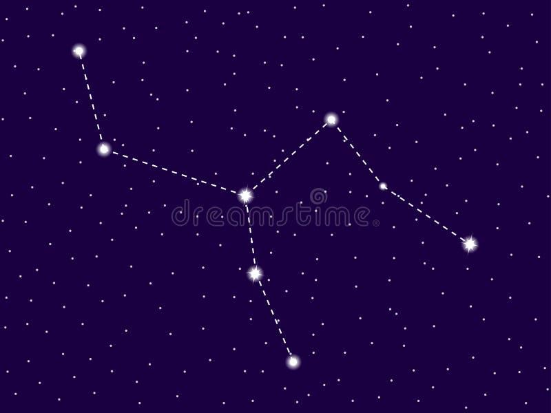 Camelopardalis konstellation starry nattsky Klunga av stjärnor och galaxer Djupt avst?nd vektor stock illustrationer