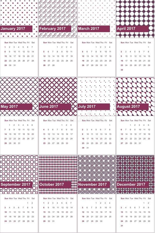 Camelot et aubergine ont coloré le calendrier géométrique 2016 de modèles illustration stock
