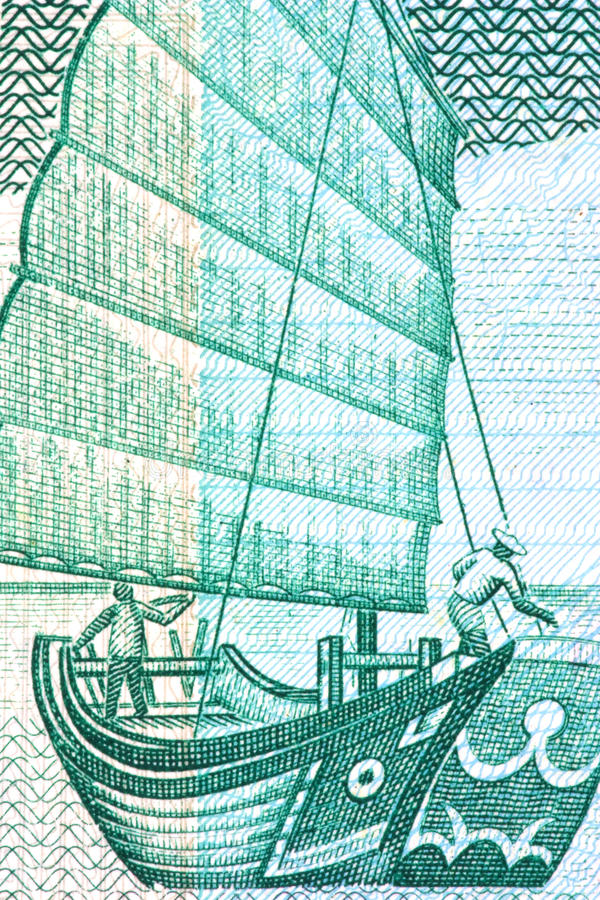 Camelote chinoise sur la note de devise image stock