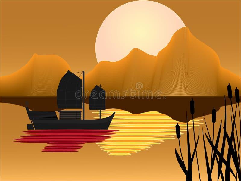 Camelote orientale avec le fond de coucher du soleil illustration libre de droits