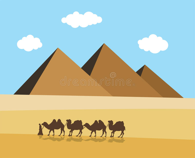 Camels and bedouin in desert, vector. Camels and bedouin in desert with egyptian pyramides, vector stock illustration