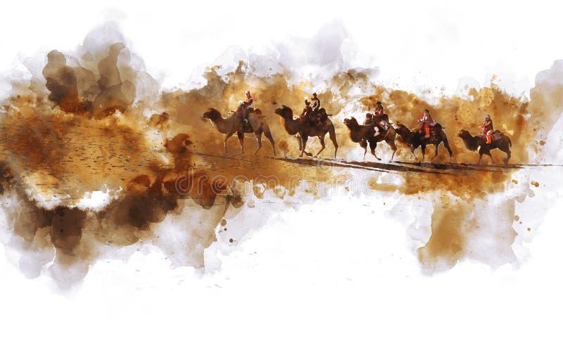 Camels and people walking on sand dune. Camels and people walking on the silk road and sand dune of desert, digital watercolor illustration vector illustration