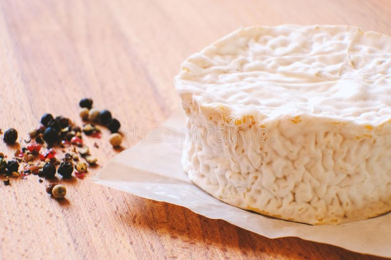Camembert cheese with mold. Cheese is good for health and digestion. The concept of healthy eating royalty free stock images