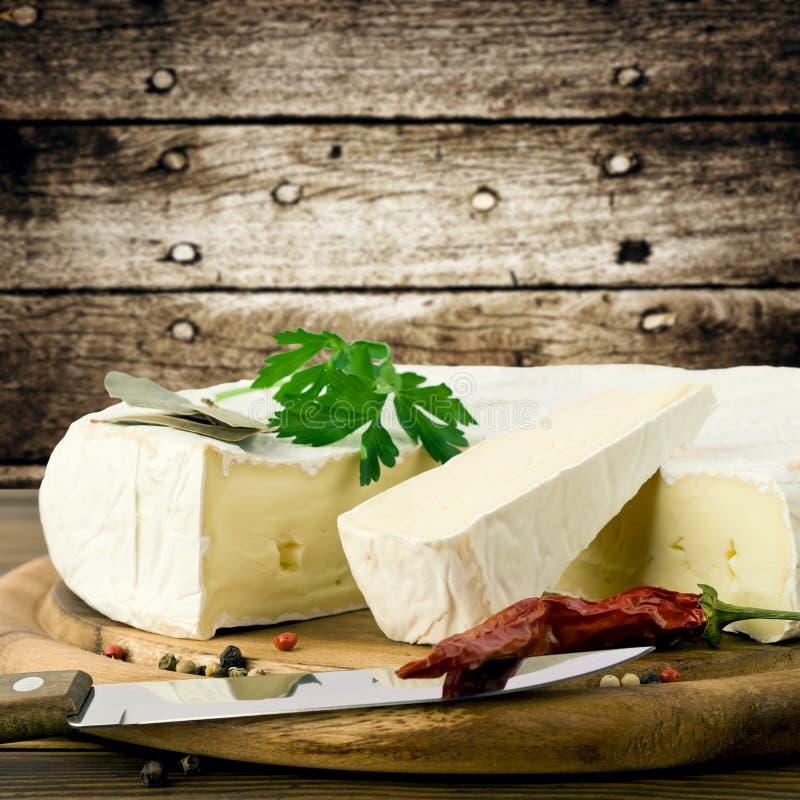 Camembert cheese. Slice macro shot. Shallow DOF stock photography