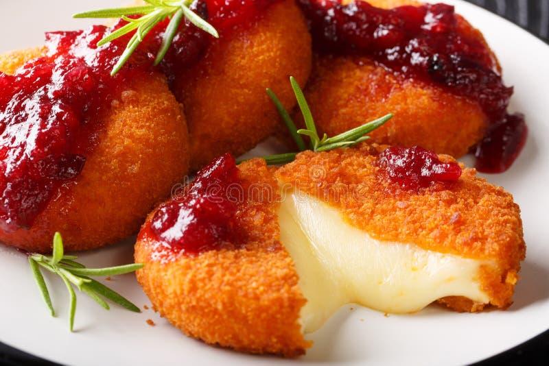 Camembert gastr?nomo del aperitivo en empanar servido con la salsa de ar?ndano y el primer del romero en una placa horizontal imagen de archivo