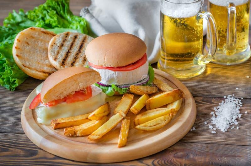 Camembert hamburgery fotografia royalty free
