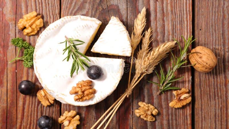 Camembert met okkernoot stock foto's