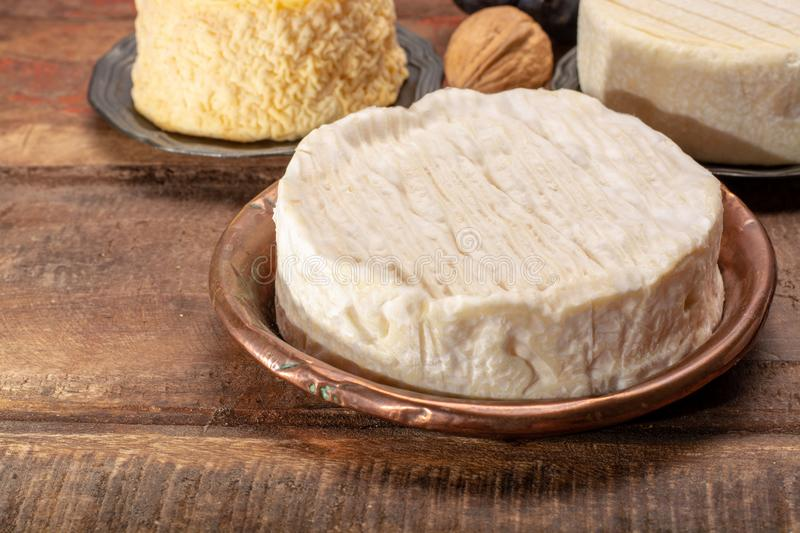 Camembert, moist, soft, creamy, surface-ripened cow's milk chees. E made in Normandy, northern France stock photo