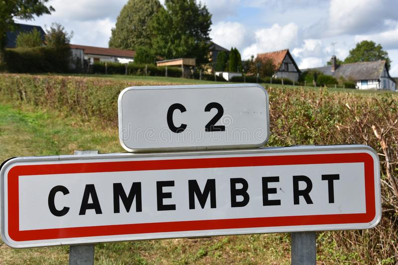 Camembert place name sign. Place name sign of the small town of Camembert in Normandy. There the famous cheese was invented in the 18th century from the farmers stock photo