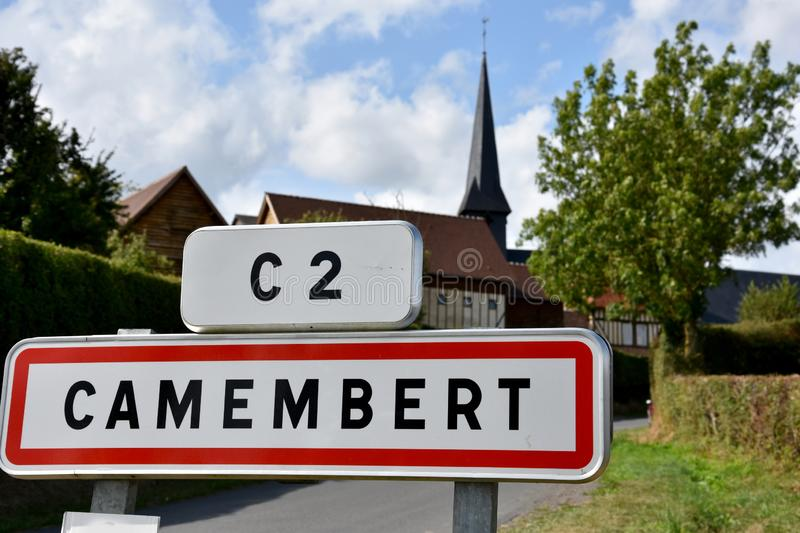 Camembert place name sign. Place name sign of the small town of Camembert in Normandy. There the famous cheese was invented in the 18th century from the farmers royalty free stock photo