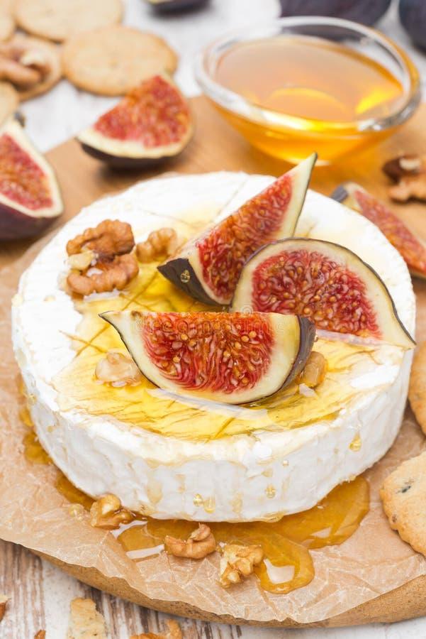 Camembert ser z miodem, figami i orzechami włoskimi na drewnianej desce, obraz royalty free