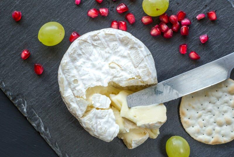 Camembertost-, kniv-, smällare- och granatäpplefrö på ost royaltyfri bild