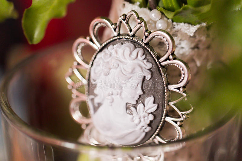 Cameo brooch royalty free stock images