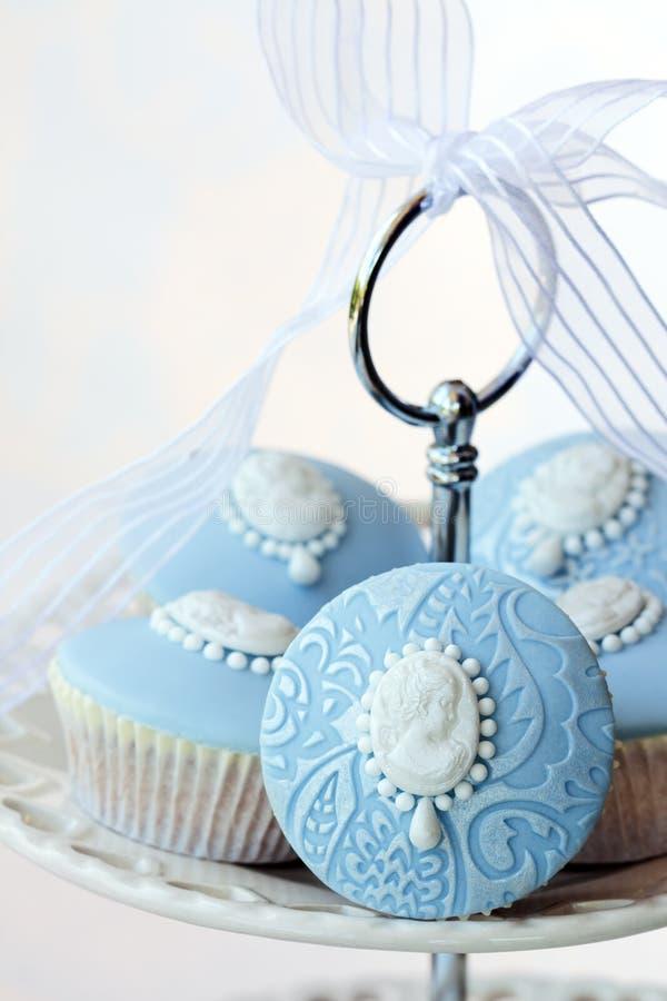 Cameo cupcakes stock photo