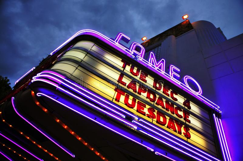 Cameo Theatre Neon imagen de archivo