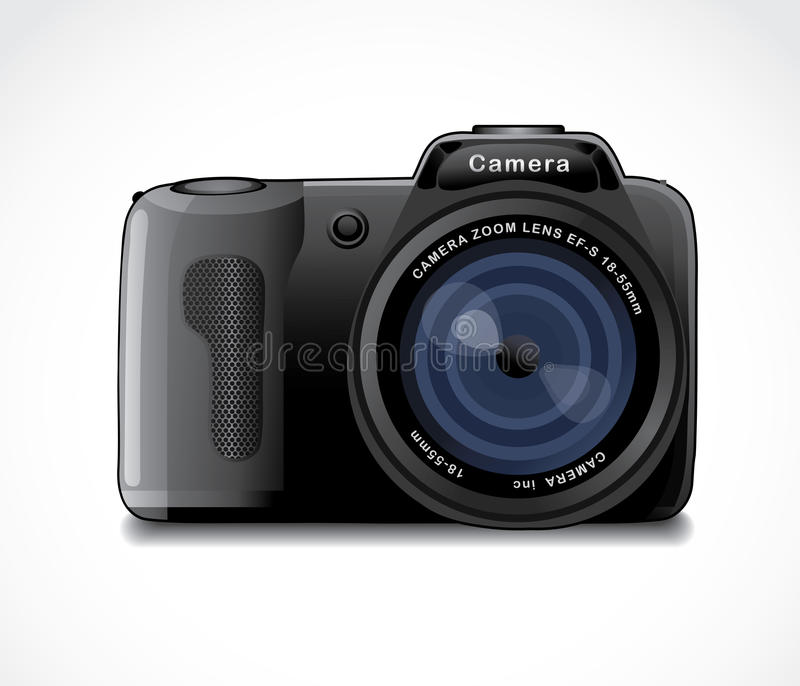 Camera. With a lens flare on a white background stock illustration