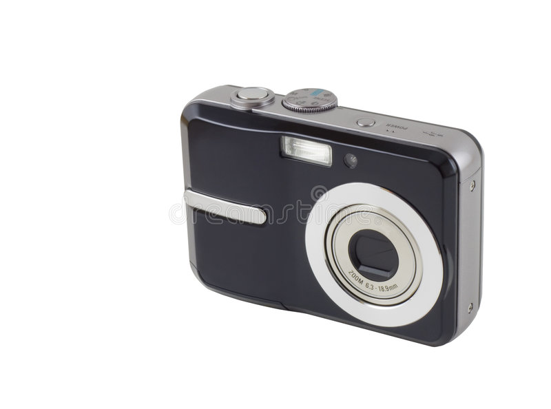 Digital Compact Camera. A digital compact camera isolated on white with clipping path