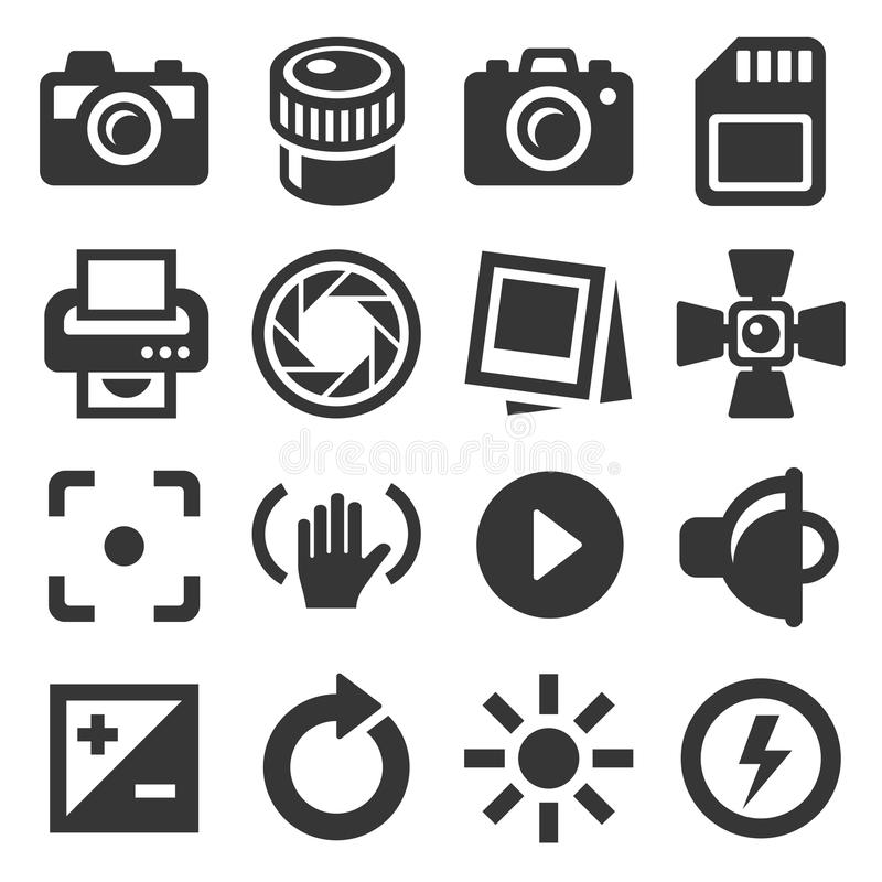 Camera Accessories and Photography Icons Set. Vector stock illustration