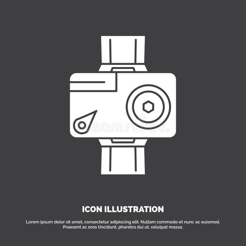 camera, actie, digitaal, video, fotopictogram glyph vectorsymbool voor UI en UX, website of mobiele toepassing royalty-vrije illustratie