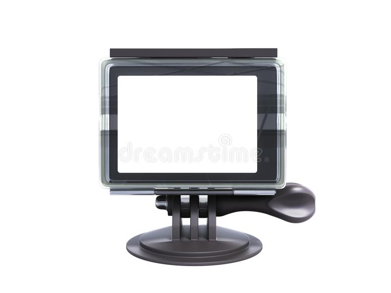 Camera Action Cam 3d render on a white background no shadow. Camera Action Cam 3d render on a white background no stock illustration