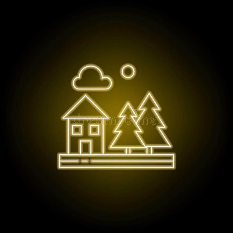 Camera, alberi, natura, linea icona della nuvola nello stile al neon giallo Elemento dell'illustrazione dei paesaggi I segni ed i royalty illustrazione gratis