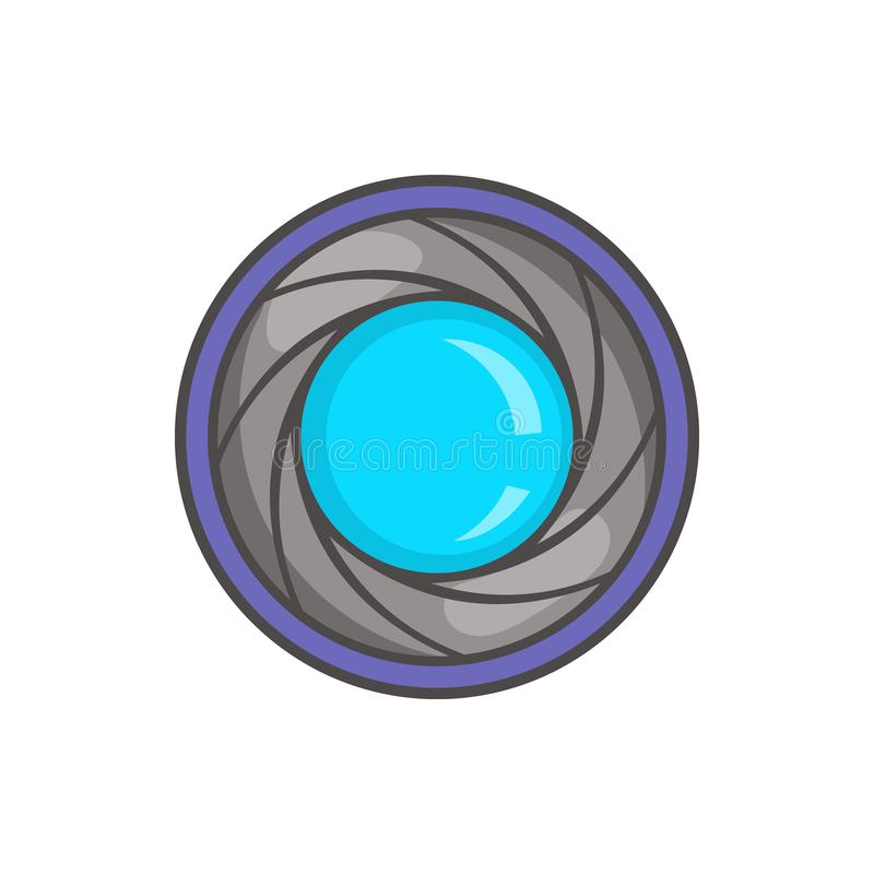 Camera aperture icon in cartoon style. On a white background stock illustration