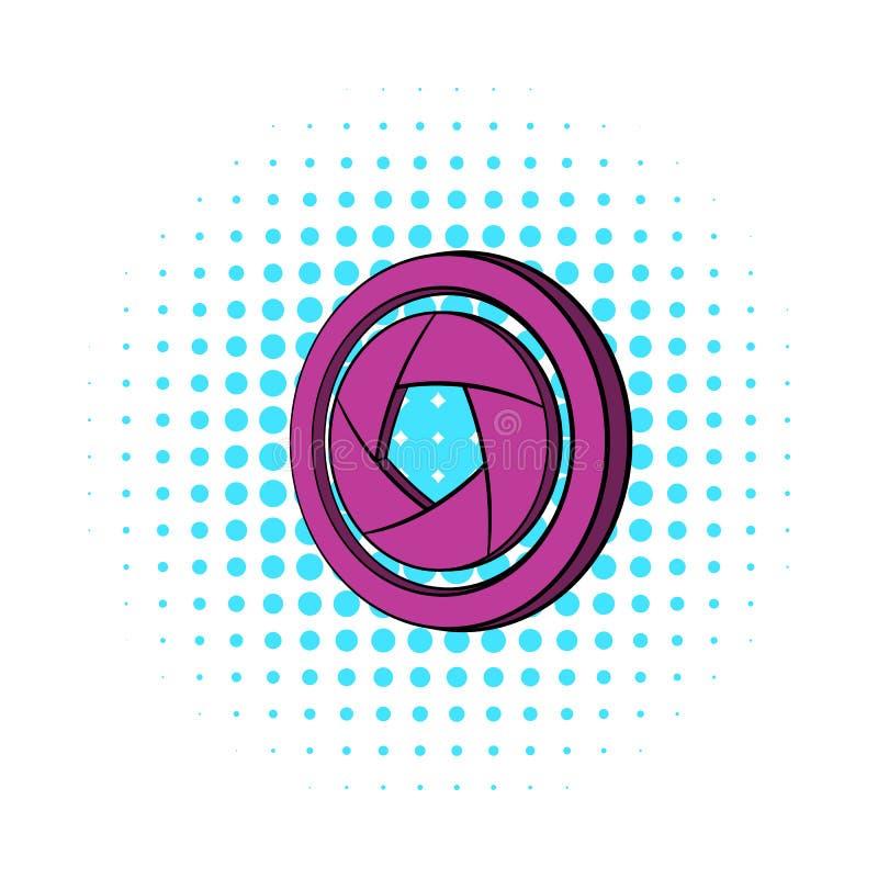 Camera aperture icon, comics style. Camera aperture icon in comics style on a white background royalty free illustration