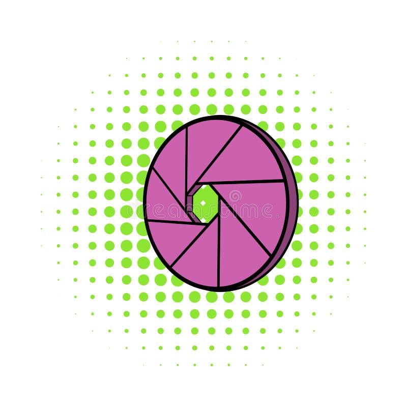 Camera aperture icon, comics style. Camera aperture icon in comics style on a white background vector illustration